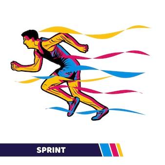 Ilustração vetorial correndo homem fazendo sprint com arte vetorial de movimento colorido