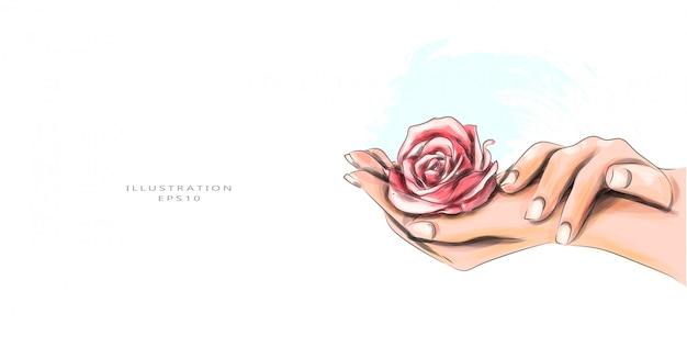 Ilustração vetorial cosmetologia e manicure.