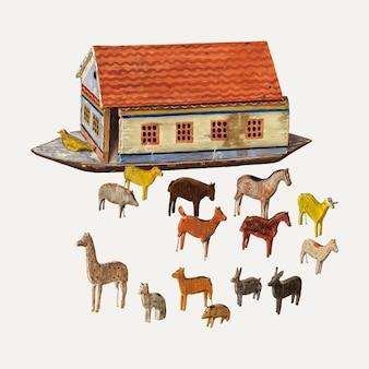 Ilustração vetorial da arca e animais de noé, remixada da obra de arte de ben lassen