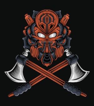 Ilustração vetorial da cabeça de um robô samurai, seja para mercadoria, roupa ou outro