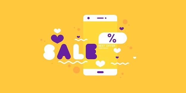 Ilustração vetorial da compra de mercadorias por meio do banner de venda na internet