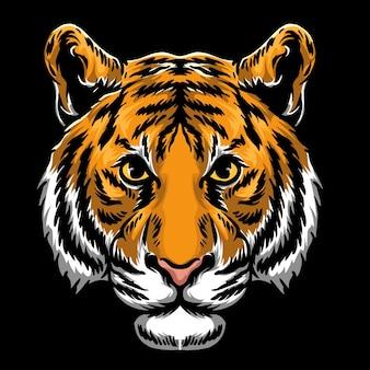 Ilustração vetorial da cor da cabeça do tigre