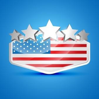 Ilustração vetorial da etiqueta da bandeira americana