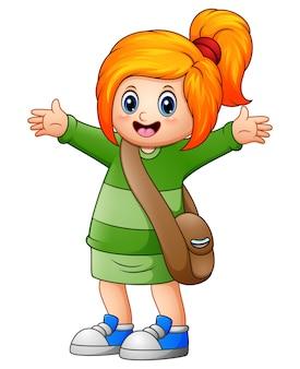 Ilustração vetorial da linda garota de cabelos loiros ir para a escola