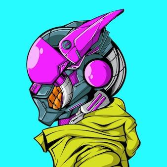 Ilustração vetorial da máquina de robô cyberpunk