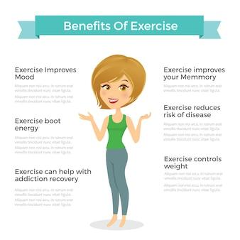 Ilustração vetorial da mulher. benefícios infografia de exercícios. objetos de saúde humana.