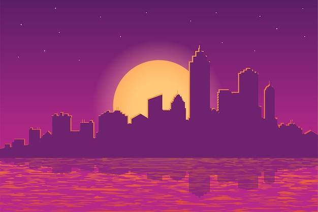 Ilustração vetorial da paisagem da cidade ao pôr do sol à noite
