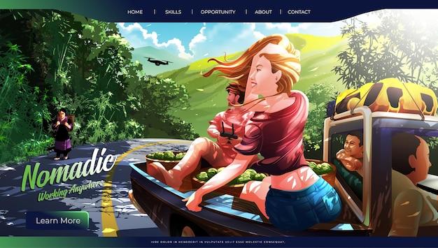 Ilustração vetorial de 2 turistas ocidentais ou nômades digitais contados com a viagem de picape de um morador Vetor Premium