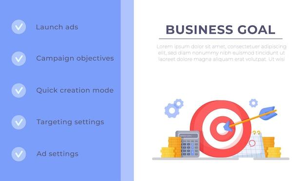 Ilustração vetorial de acertar o alvo conceito vencedor de modelo de infográfico de gráfico de sucesso