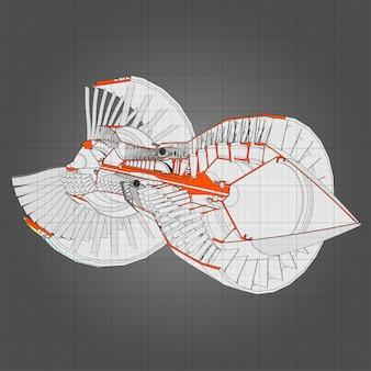 Ilustração vetorial de aeronaves com motor turbo jato