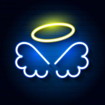 Ilustração vetorial de anjo de néon em uma parede de tijolos para seu projeto
