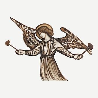 Ilustração vetorial de anjo, remixada de obras de arte de sir edward coley burne & ndash; jones