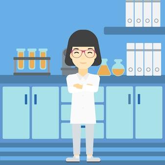 Ilustração vetorial de assistente de laboratório feminino.