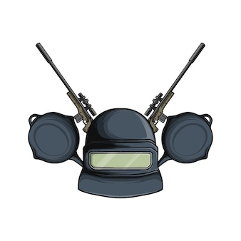 Ilustração vetorial de atirador de capacete do exército