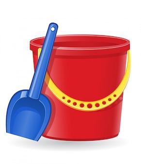 Ilustração vetorial de balde e pá de plástico