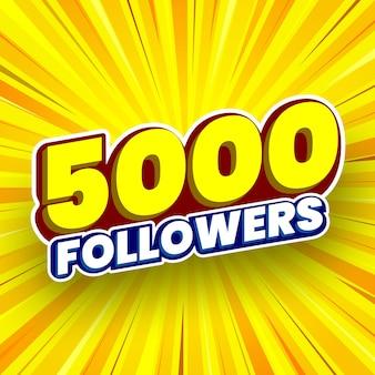 Ilustração vetorial de banner de 5.000 seguidores
