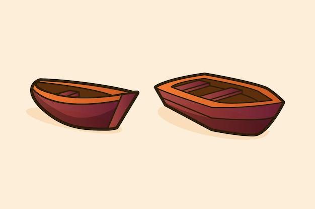Ilustração vetorial de barcos de madeira