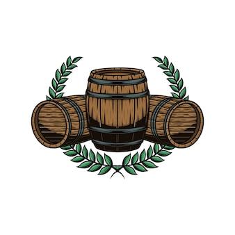 Ilustração vetorial de barril de madeira