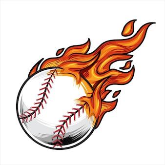 Ilustração vetorial de beisebol em chamas.