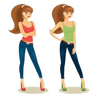 Ilustração vetorial de belas garotas em roupas casuais