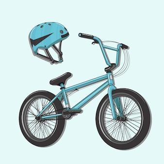Ilustração vetorial de bicicleta e capacete