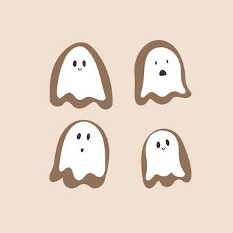 Ilustração vetorial de biscoitos de gengibre de halloween, pequenos fantasmas fofos