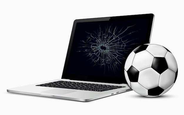 Ilustração vetorial de bola de futebol e tela de laptop quebrada