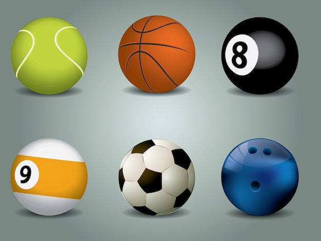 Ilustração vetorial de bolas esportivas