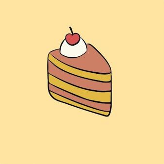 Ilustração vetorial de bolo de aniversário fatiado