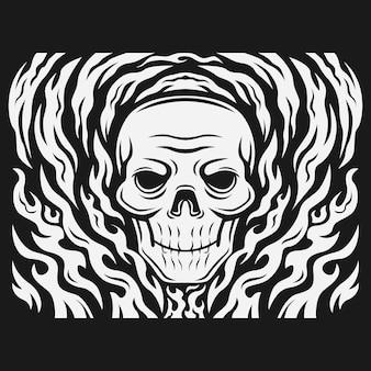 Ilustração vetorial de cabeça de crânio rodeada por fogo