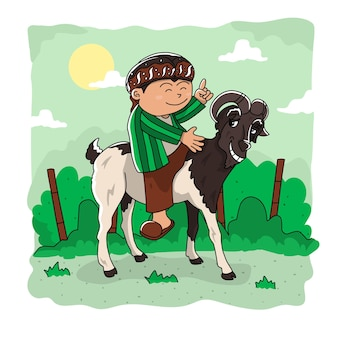 Ilustração vetorial de cabra e homem
