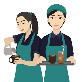 Ilustração vetorial de cafeteria barista