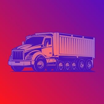 Ilustração vetorial de caminhão basculante
