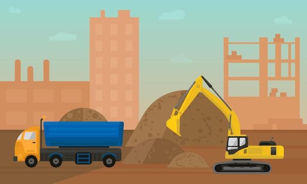 Ilustração vetorial de canteiro de obras com escavadeira e vagão de carga