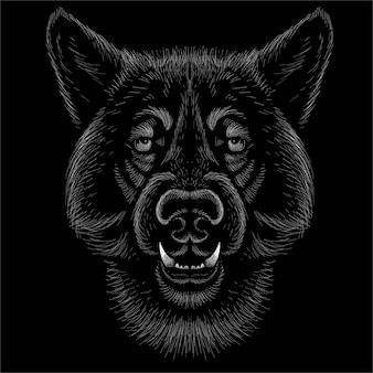 Ilustração vetorial de cão ou lobo