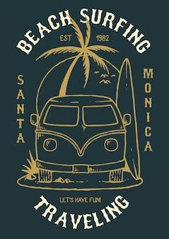 Ilustração vetorial de carro de férias com surfboad