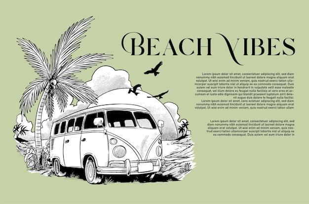 Ilustração vetorial de carro na praia para design de camiseta e pôster