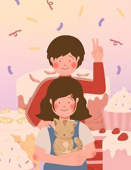 Ilustração vetorial de casal fofo e sobremesa