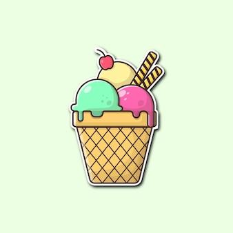 Ilustração vetorial de casquinha de sorvete com estilo cartoon Vetor Premium