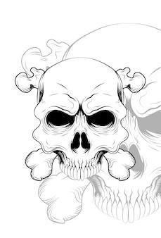 Ilustração vetorial de caveira com osso