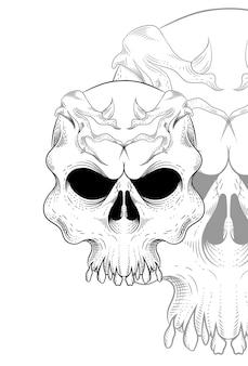 Ilustração vetorial de caveira com raiz de coroa