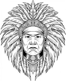 Ilustração vetorial de chefe índio