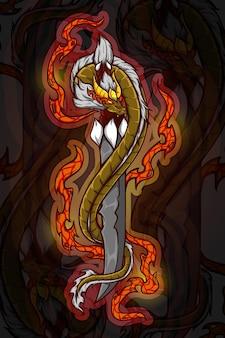 Ilustração vetorial de chifre de dragão dourado com espada
