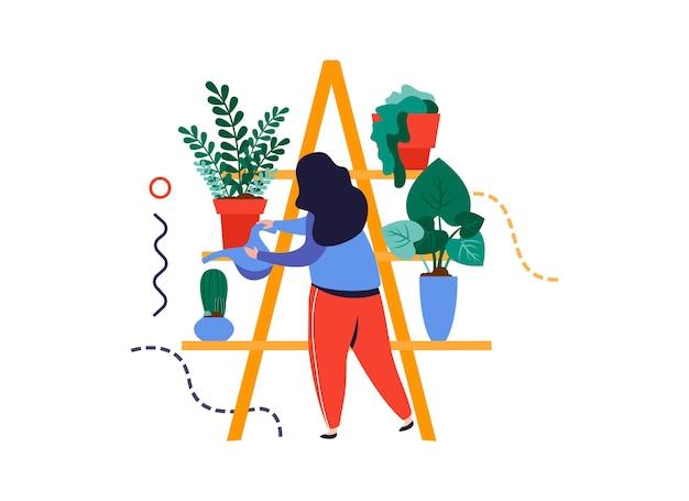 Ilustração vetorial de composição de jardim doméstico com personagem de mulher regando vasos de plantas nas prateleiras