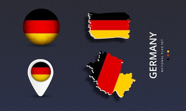 Ilustração vetorial de conjunto de bandeira de país realista