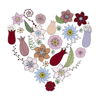 Ilustração vetorial de coração de flores fundo elegante em tons delicados