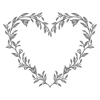 Ilustração vetorial de coração floral para resumo e decoração