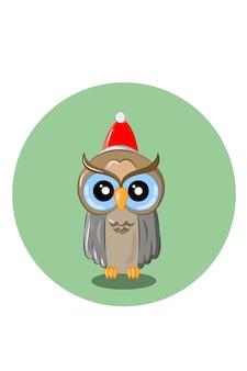 Ilustração vetorial de coruja com chapéu de papai noel