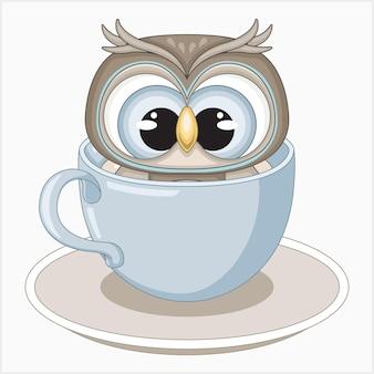 Ilustração vetorial de coruja fofa em uma xícara