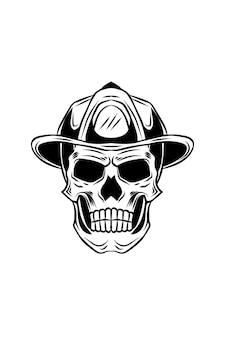 Ilustração vetorial de crânio de bombeiro